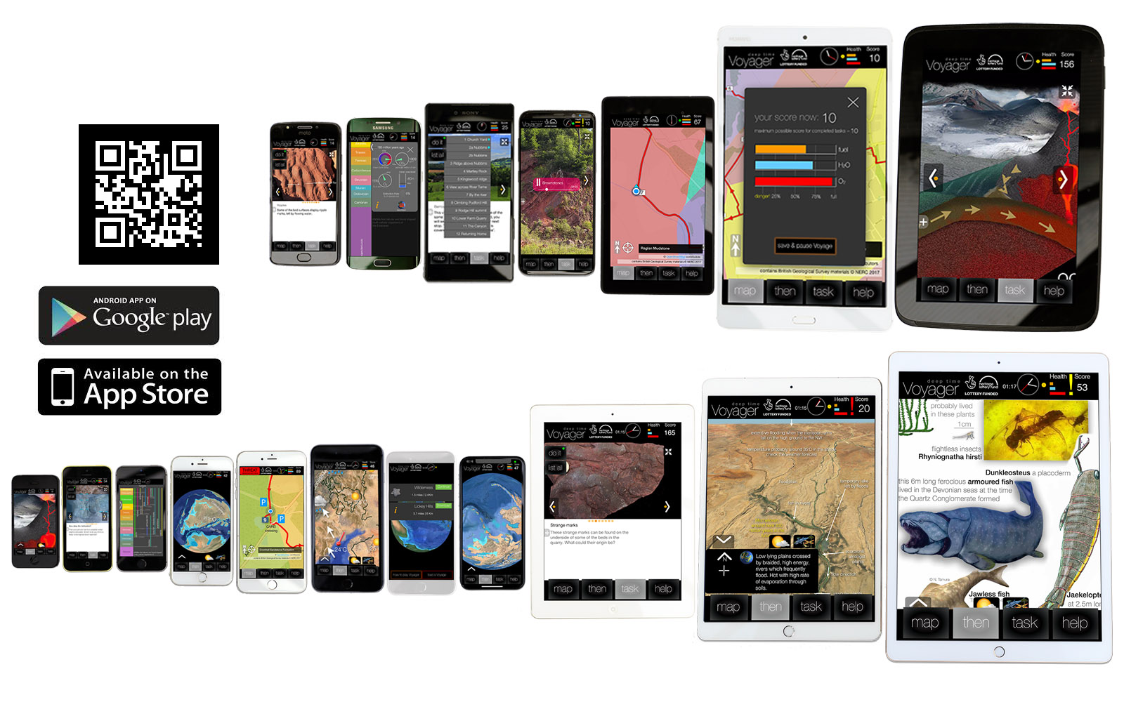 Voyager and GeoExplore apps  on different devices