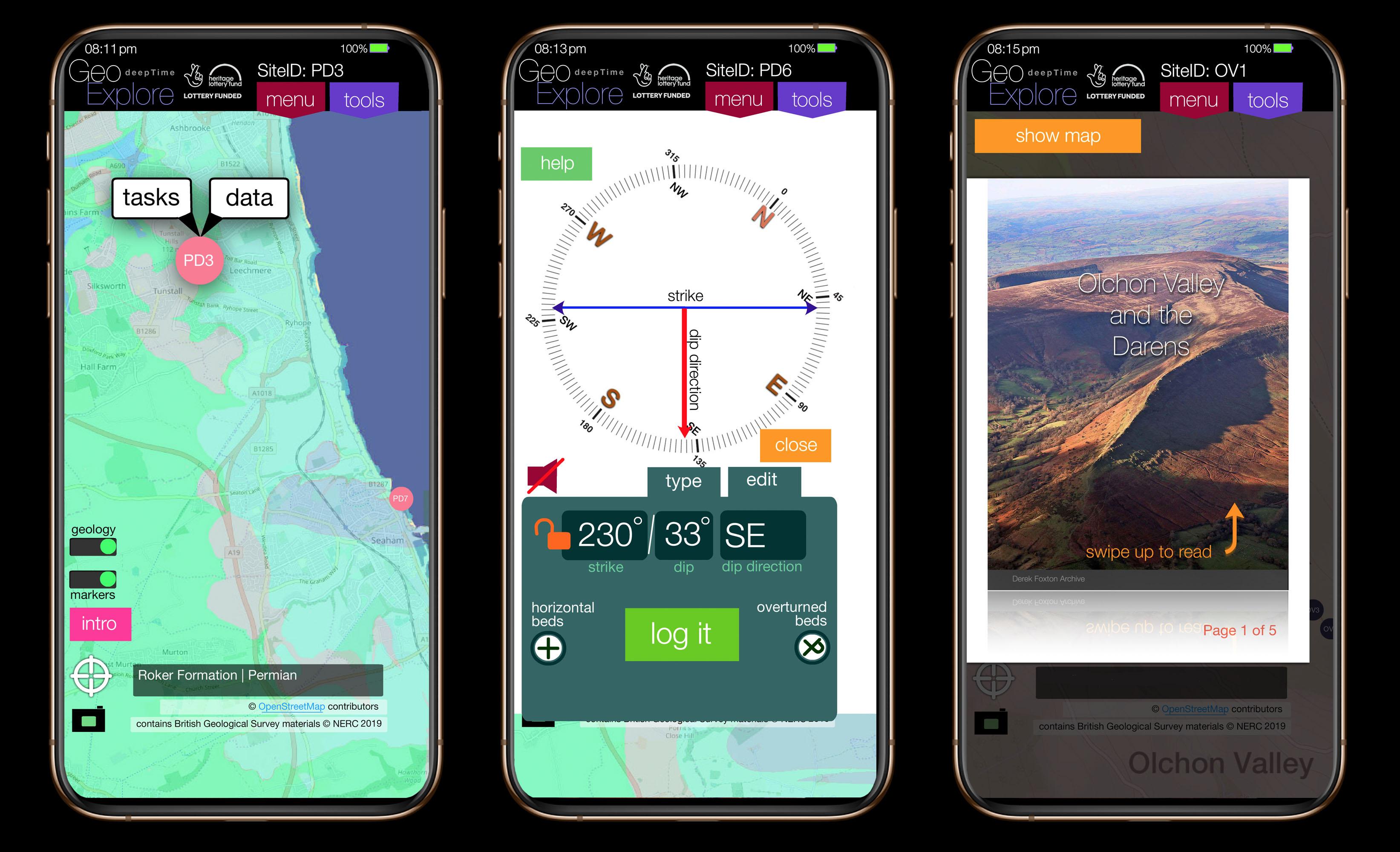 GeoExplore app screen samples